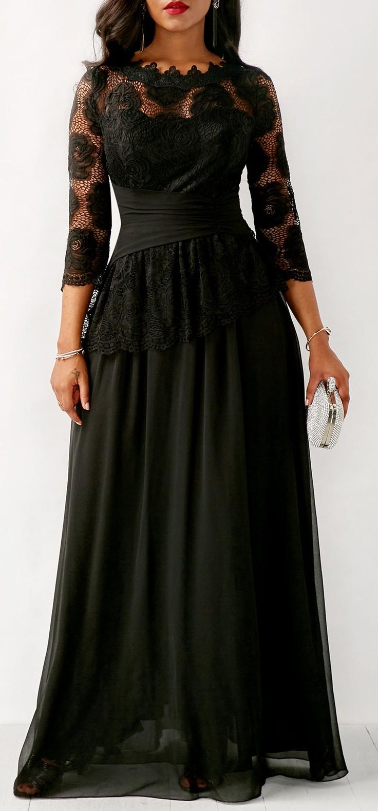 Chiffon Three Quarter Sleeve Maxi Dress.