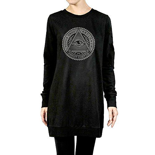Womens Illuminati Secret Society Pyramid Eye Tunic Pullover Hoodie >>> Find out more about the great product at the image link.