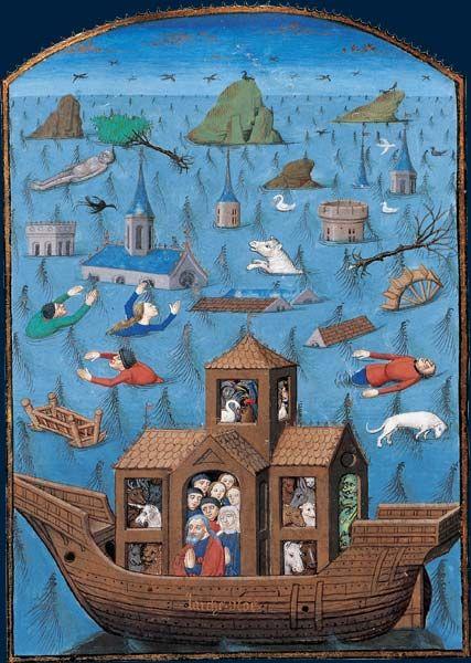 Le Déluge. Saint Agustin. La Cité de Dieu. Miniature de Maître de L'Échevinage. Rouen, troisième tiers du XVe siècle. Manuscrit sur vélin, avec miniatures et lettres ornées (47 x 34,5 cm) BNF, Manuscrits, français 28, f. 66v.