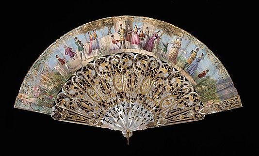 Fan  Date: 1855–65 Culture: Spanish (probably) Medium: Mother-of-pearl, paper, gouache, metal Dimensions: 10 7/8 in. (27.6 cm) Credit Line: Brooklyn Museum Costume Collection at The Metropolitan Museum of Art,