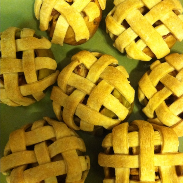 These are the in apple apple pies I made for dessert tonight!!! Don't know how they taste but the recipe is pretty simple!!!
