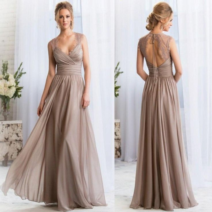 2015 V-neck Long Silver Bridesmaid Dresses Lace Keyhole Back Prom Dresses Long Maid Of Honor Dresses Formal Evening Gowns Custom Made Online with $79.17/Piece on Magicdress2011's Store   DHgate.com