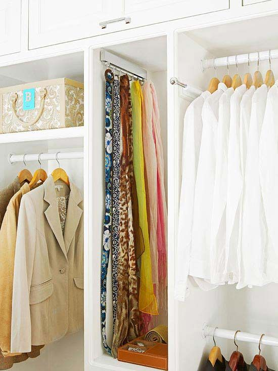 Closet Bars: Closet Designs, Walk In Closet, Organizations, Bedroom Closets, Master Closet, Scarfs, Closet Ideas, Closet Organization Tips, Bedroom Ideas