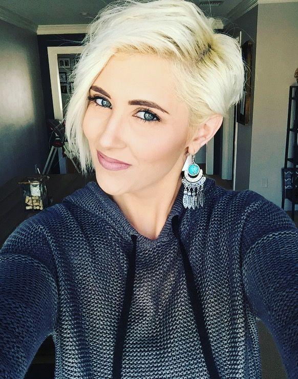 Platinum blonde pixie short Pixie blonde pixie younique makeup rayahope raya coleman statement earrings