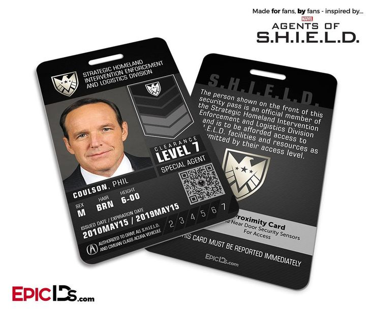 Agents of SHIELD Inspired 'Real' SHIELD Agent ID - Phil Coulson