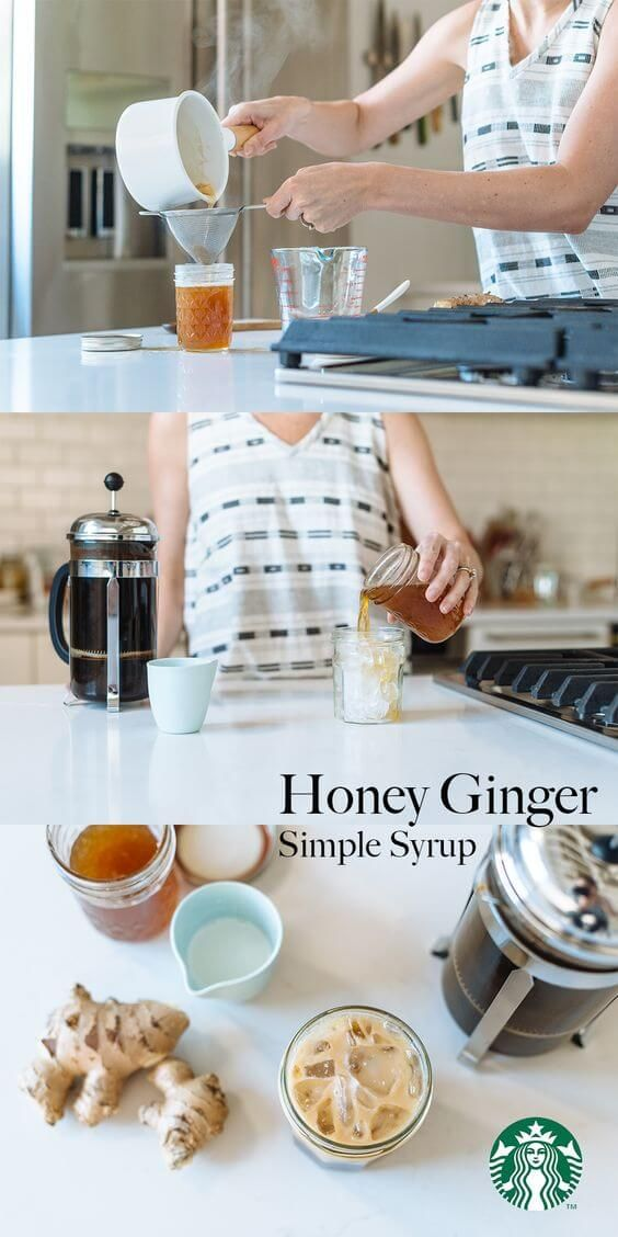 This simple syrup recipe will add the perfect kick to your morning coffee. Just the right amount of spicy and sweet with honey ginger syrup. In a small saucepan, combine ½ cup honey, ½  cup water and 1 1-inch piece of ginger. Bring to a boil, then reduce to a simmer and stir. Let simmer for 35-40 minutes. Pour the syrup through a strainer into a jar. Discard the ginger pieces and let the syrup cool before sealing the jar. This simple syrup is delicious in cold brew or iced coffee. Enjoy!