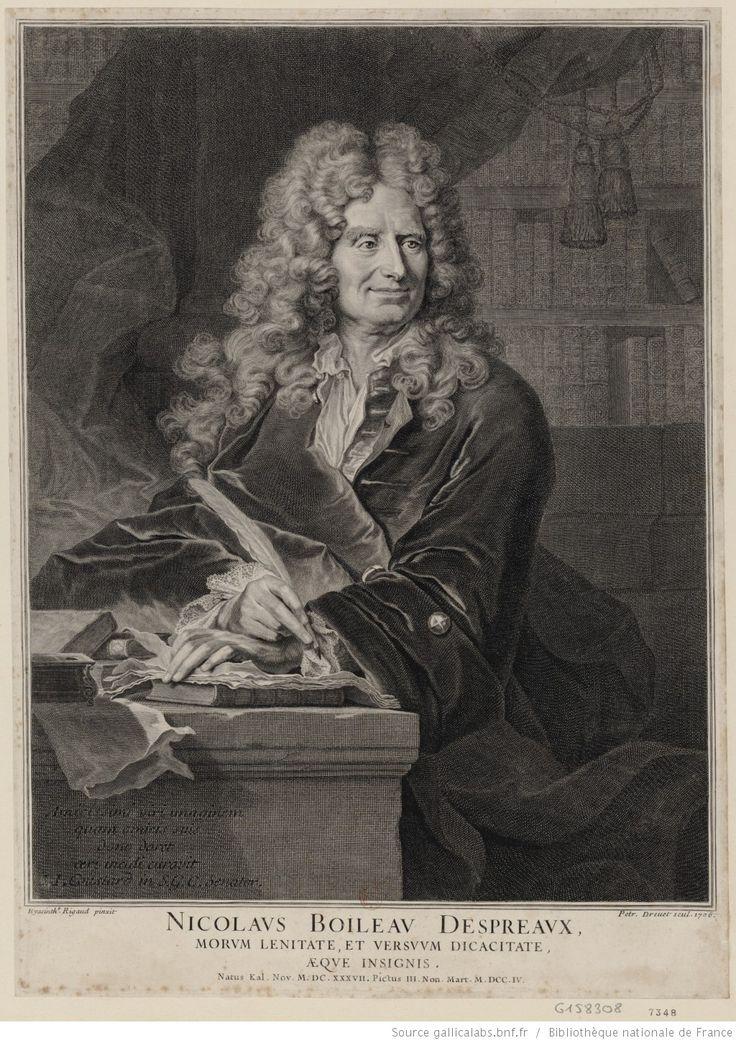 PIERRE DREVET Portrait de Nicolas Boileau-Despreaux, à mi-corps, tenant une plume à la main : [estampe]