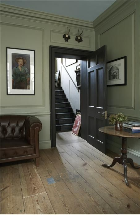 An inspirational image from Farrow and Ball. Powder room: Trim all beige, door (and windows black), ceiling a darker gold. also: library-- maybe a contrasting blue like this?