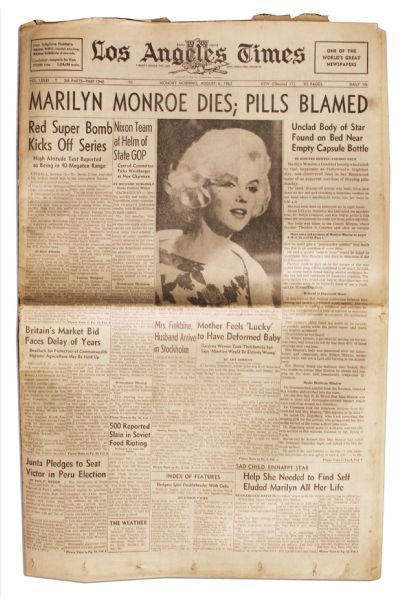 Marilyn Monroe's Death Covered in the ''Los Angeles Times'' of 6 August 1962 -- ''Pills Blamed''
