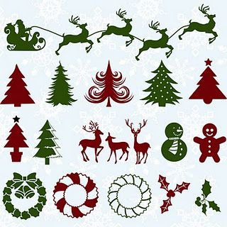 reindeer silhouettes - standing and flying