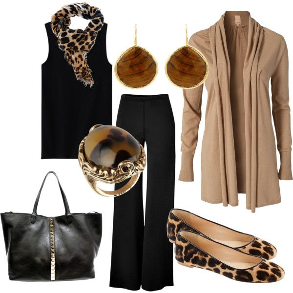 Black and tan with leopard scarf OR shoes.  Wear with  black shoes or leopard pumps as well.