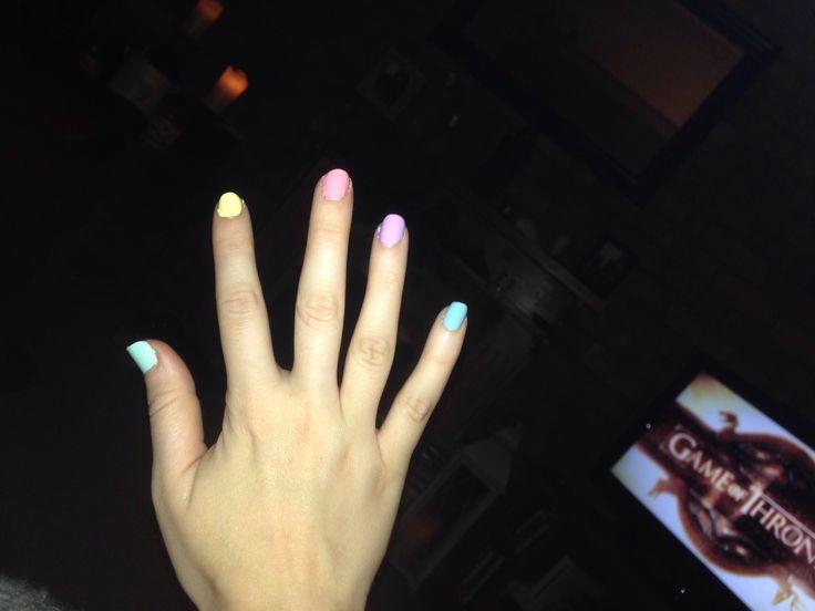 Spring pastel mix nail paint