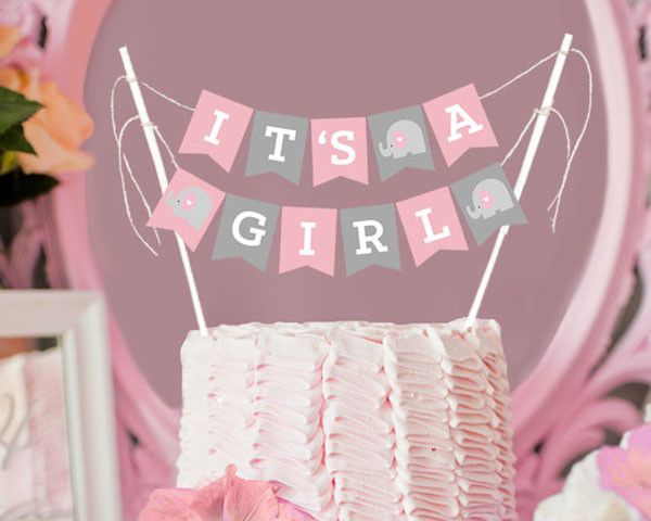 It S A Girl Baby Shower Bunting Cake Topper Mix And Bash