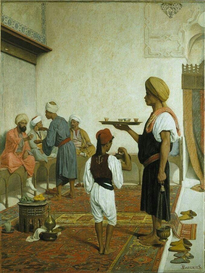 Algérie - Peintre Français  Eugène Baugniès(1842-1891), Huile sur toile, Titre :  Le café Turc