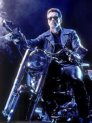 Arnold & his 1990 Harley Davidson Fat Boy in Terminator 2