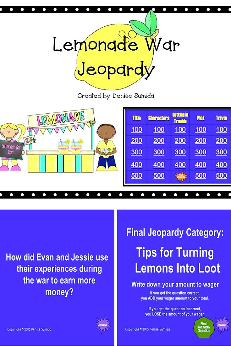"""Powerpoint Jeopardy game to play with students in grades 4-6. Based on Jacqueline Davis's book, """"The Lemonade War."""" This is a great way to end a novel study or review key concepts from the book. For similar jeopardy games go to https://www.teacherspayteachers.com/Store/Reading-Under-The-Hula-Moon"""