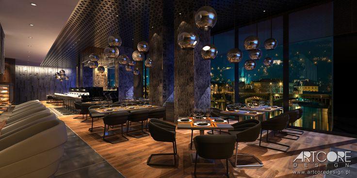 Projekt wnętrza klimatycznej restauracji. Więcej na www.artcoredesign.pl .