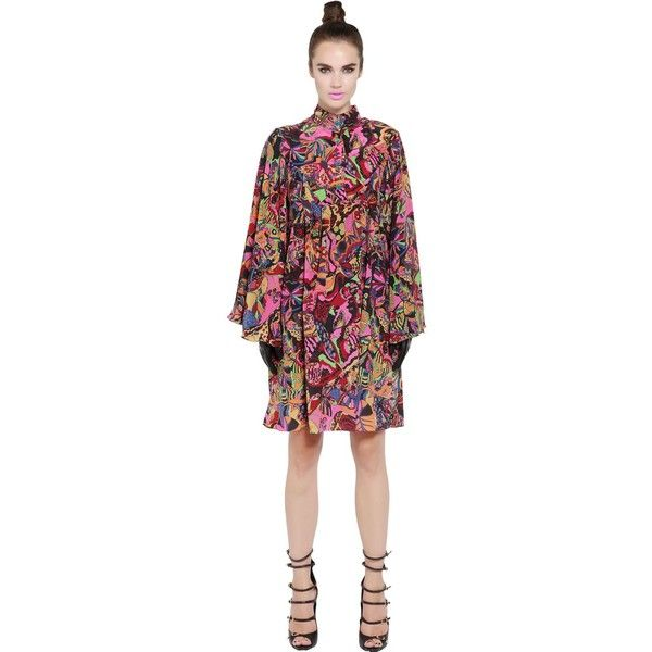 Neon Women Printed Silk Crepe Shirt Dress ($730) ❤ liked on Polyvore featuring dresses, multicolor, multi colored dress, fluorescent dress, multi coloured dress, multicolored dress and neon dress
