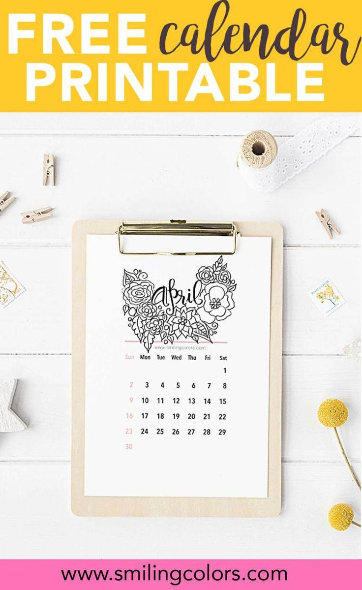 Free coloring pages april - Free Printable Calendar For April Free Coloring Calendar Handlettered Handdrawn By Smitha Katti