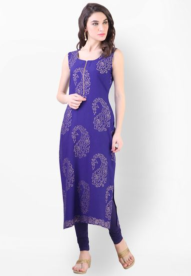 Blue Embroidered Kurta - Libas Kurtas & kurtis for women | buy women kurtas and kurtis online in indium