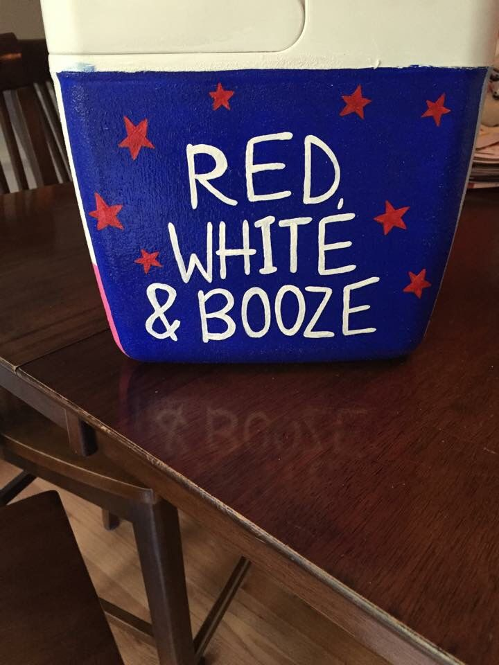 Red white and booze American painted cooler