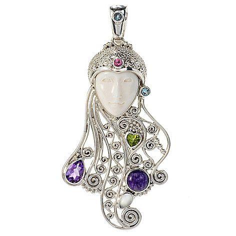 148-789- Offerings Sterling Silver Carved Bone & Multi Gemstone Goddess Pendant