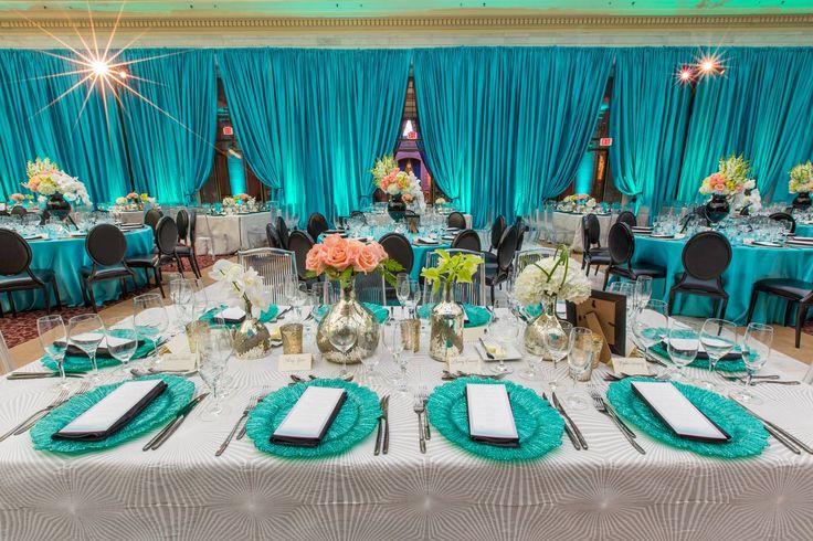 San Francisco Symphony Opening Night Gala 2015 - Lighting Design by Got Light, Event Design by Blueprint Studios. Turquoise Aqua Drape Dinner Inspiration.