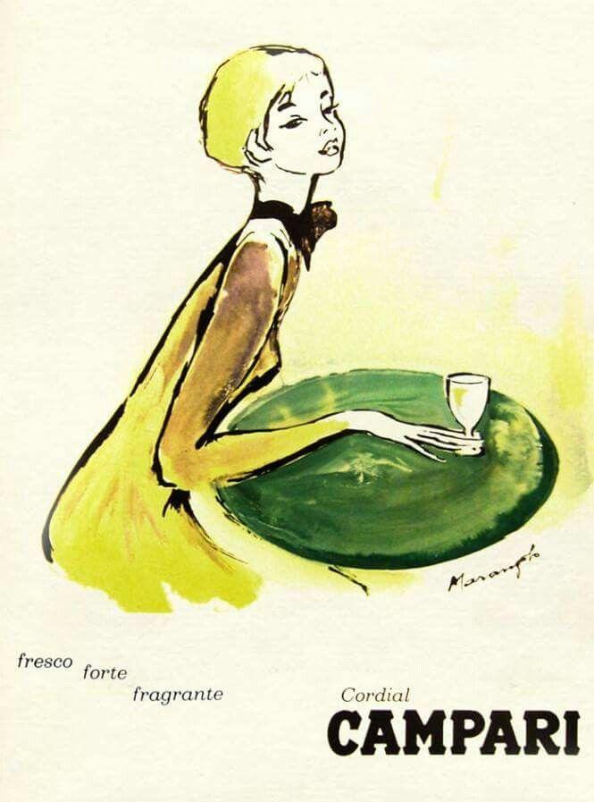 """""""Fresco, forte, fragrante, Cordial Campari"""" -  Franz Marangolo - Anni Sessanta"""
