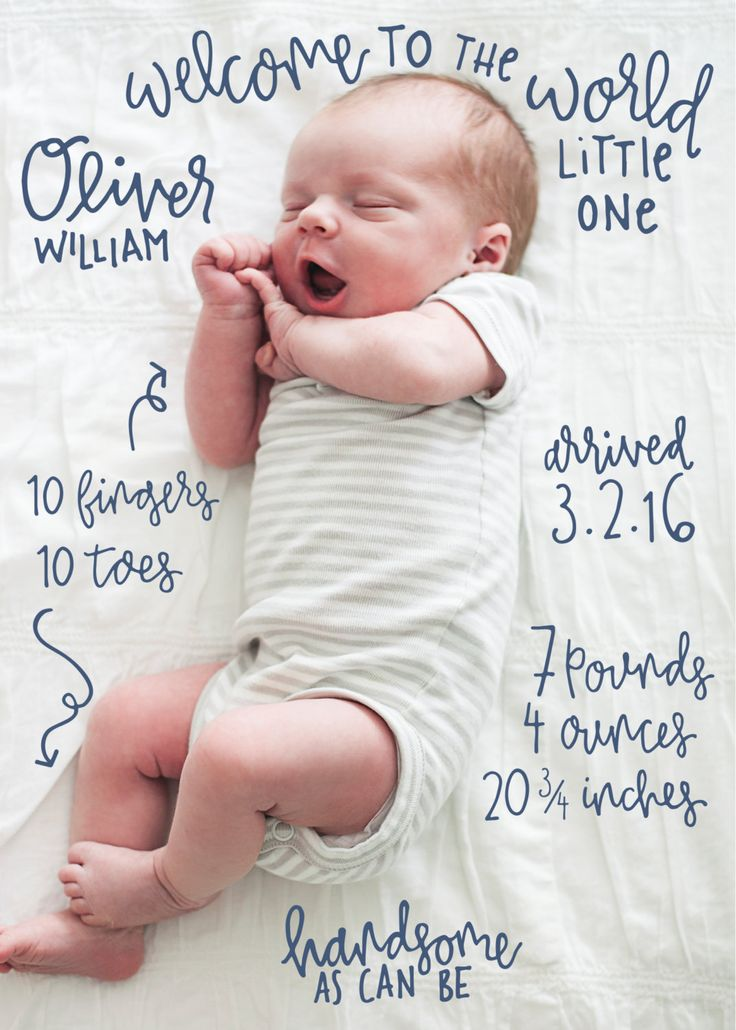 Hand Lettered Quirky Birth Announcement - Custom Calligraphy Announcement