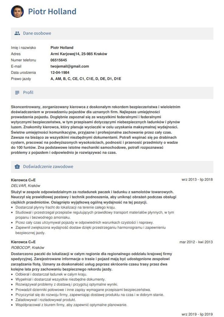 Przykład CV dla kierowca in 2020 Cv maker, School