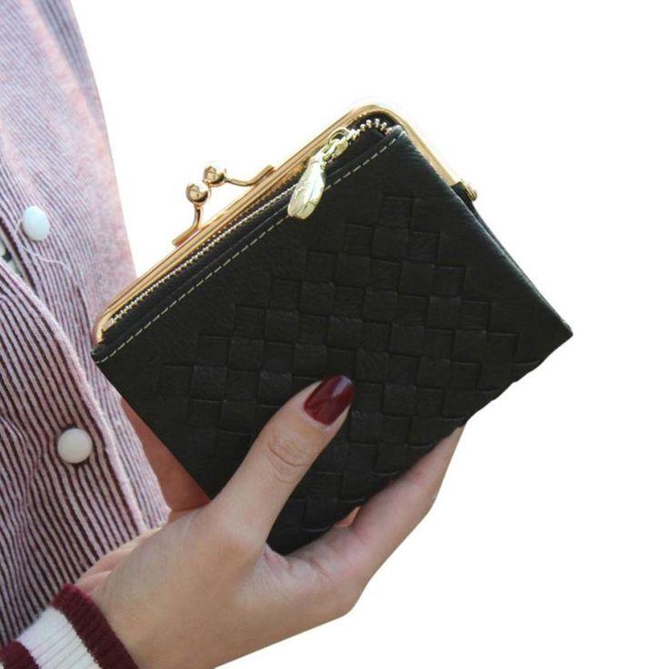 Xiniu Vrouwen portemonnee Hasp Geweven Patroon Korte vrouwen portemonnee met rits coin card wallet Vrouwen purse carteira feminina couro # YHSL