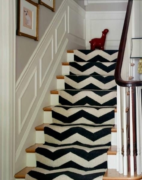 Chevron Runner on Staircase from Wallpaper & Scissors- I think this would even be super cute painted on!: Interior, Idea, Staircase, Chevron Stairs, Stair Runners, House, Design