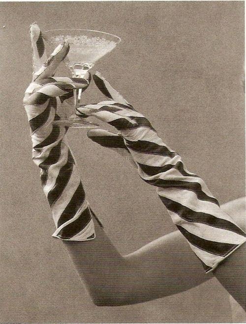 striped gloves. ZsaZsa Bellagio