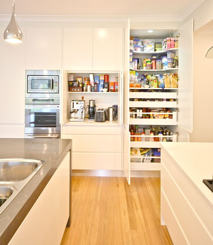 PANTRY. Blum soft closing drawers, shaped shelving for easy access to top section. #kbecastlehill #kitchensbyemanuel #kitchenideas #pantryideas #ideas #custom #local #storage #practical #drawers