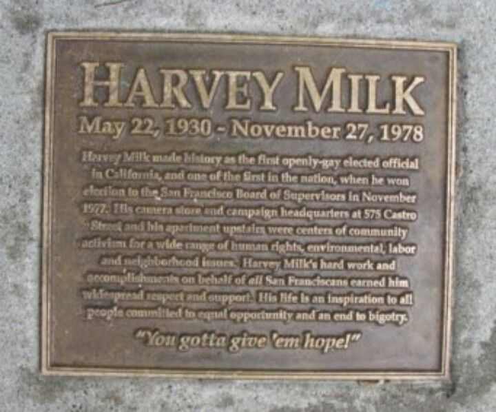 Plaque dedicated to Harvey Milk - first openly gay elected official in the US, assassinated along with Mayor George Moscone inside San Francisco City Hall.