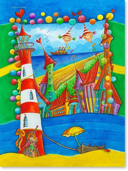 Fancy Bilder Kinderzimmer auf Leinwand gedruckt f r Jungen und M dchen Motiv Leuchtturm Stadt