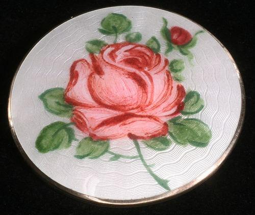 VINTAGE JENSEN NORWAY ENAMEL STERLING ROSE BROOCH PIN