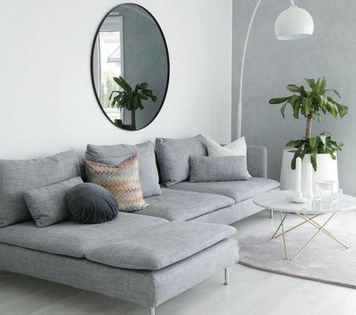 salon gris et blanc aux lignes pures gros canap gris table caf style