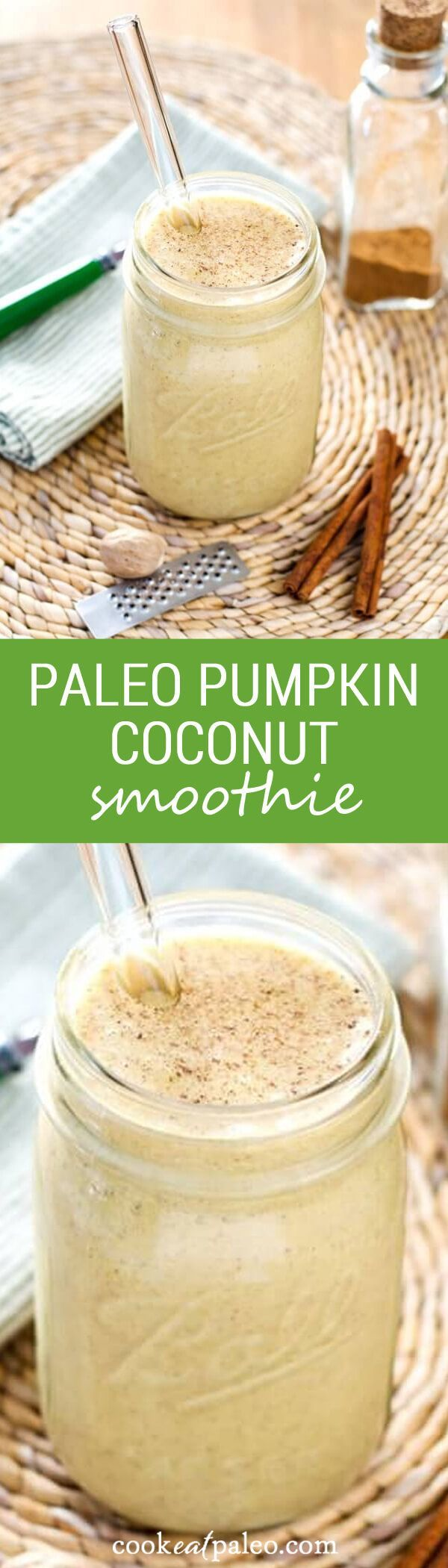 This Paleo Pumpkin Coconut Smoothie recipe is creamy, sweet and delicious without dairy or added sugar. A perfect quick and healthy paleo breakfast smoothie. ~ cookeatpaleo.com
