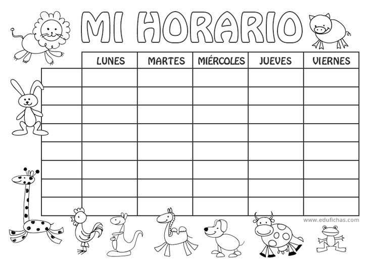 Horario coloreable para la vuelta al cole.   Horario escolar  #escolar #horario #clases #infantil   http://www.edufichas.com/blog/horario-escolar-para-imprimir/