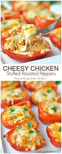 Cheesy Chicken Stuffed Peppers - these are SO delicious! Use plain non fat Greek yogurt instead of sour cream, homemade salsa instead of store bought, Mrs Dash fiesta seasoning and hard block cheese.