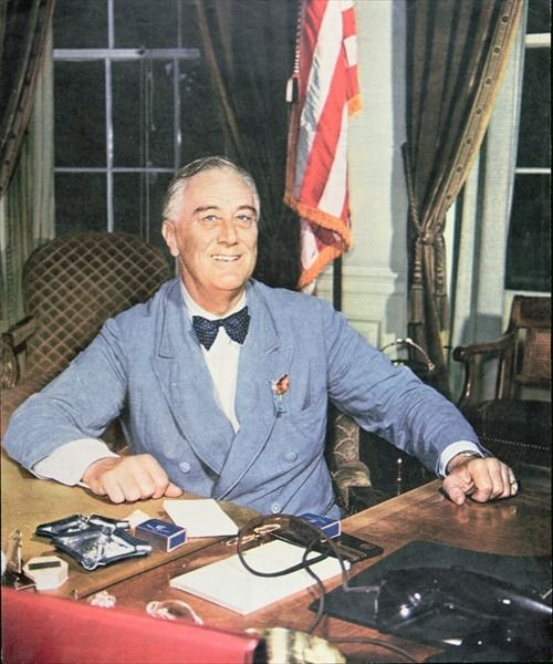 Franklin Delano Roosevelt (1882-1945), 32nd President of the United States, best known for leading America through the Great Depression with his 'New Deal', created a powerful Democratic Party Coalition, led the military alliance that defeated Nazi Germany.