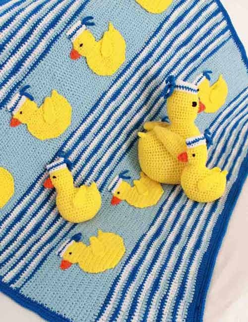Sailing Duckies Afghan Pillow & Toy patterns