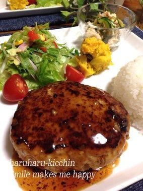 【水切り不要】豆腐照り焼きハンバーグ♡ささみときゅうりの葱梅おかか和え|レシピブログ