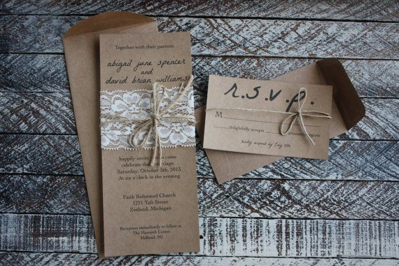 Rustic Wedding Invitations with Lace & Twine on Etsy, $4.76 CAD