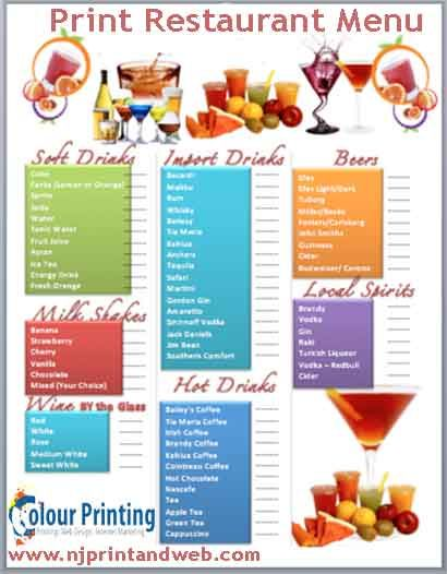 143 best Print Restaurant Menu images on Pinterest Menu printing - free cafe menu templates for word