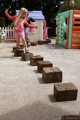 Giant reclaimed wooden blocks...make your own block great gross motor skill