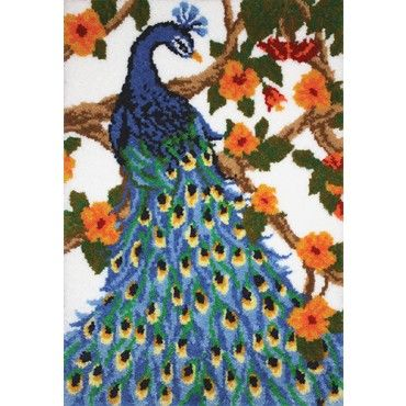 My favorite source for arts and crafts:  Peacock Latch Hook Rug