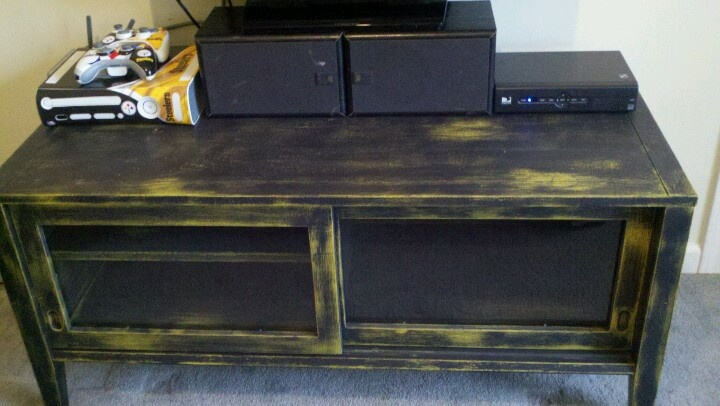 Steelers man cave TV stand I distressed