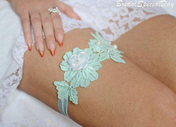 Lace Bridal Garter Wedding Mint Set Handmade
